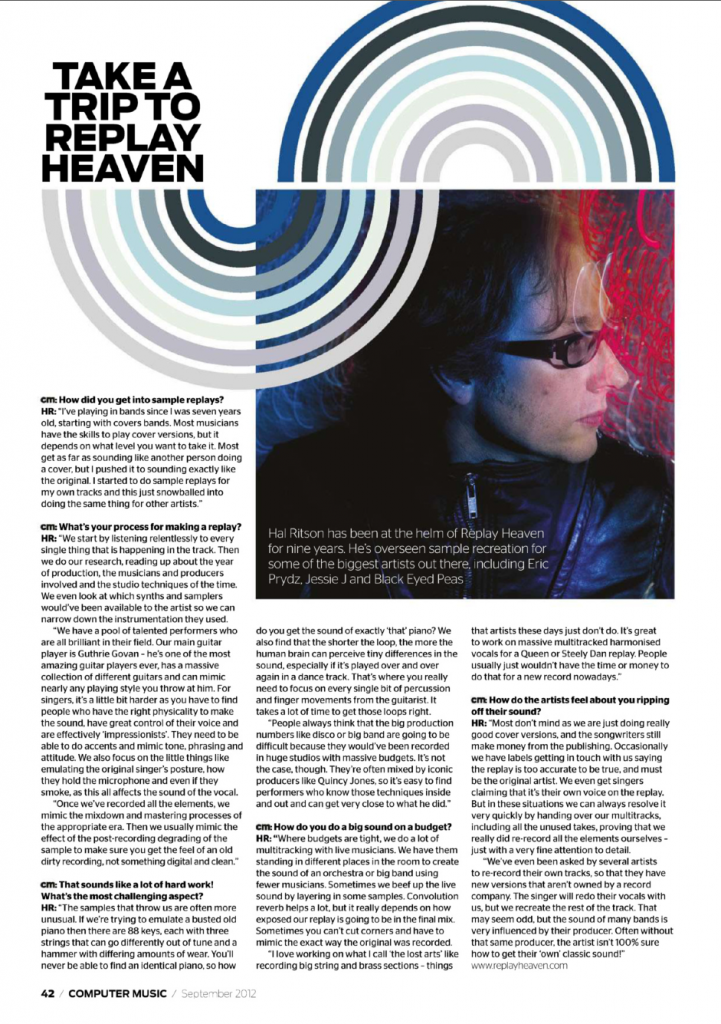 Replay Heaven article in Computer Music Magazine